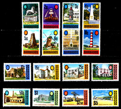 Barbados, British: 1970 Mint Never Hinged Stamp Collection Scott #328-43 Sound