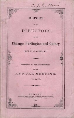 Burlington & Quincy / Report of the Directors of the Chicago Signed 1st ed