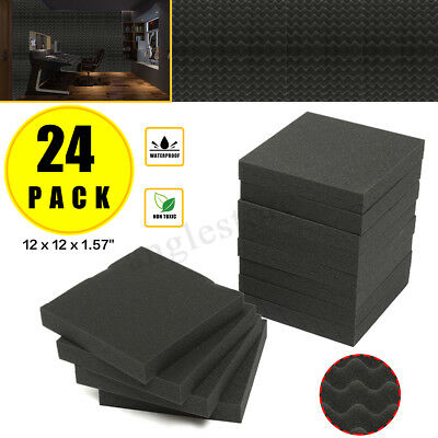 """24Pack Acoustic Wedge Studio Soundproofing Foam Wall Tiles 12"""" X 12"""" X 1.57"""" US"""