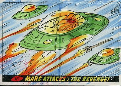 Mars Attacks The Revenge Panoramic Sketch Card By Brad Hudson