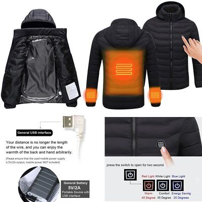 Men Thermal Clothes USB Heater Coat Heated Jacket Winter Outdoor Clothes LO