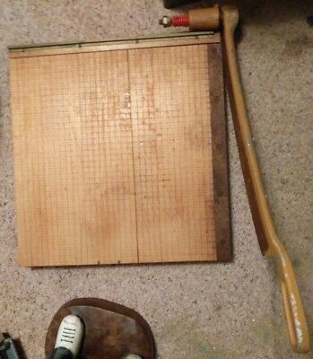 "Vintage Ingento Rare Model 1152 Style B 18"" Cast Iron Paper Cutter Trimmer Grid"