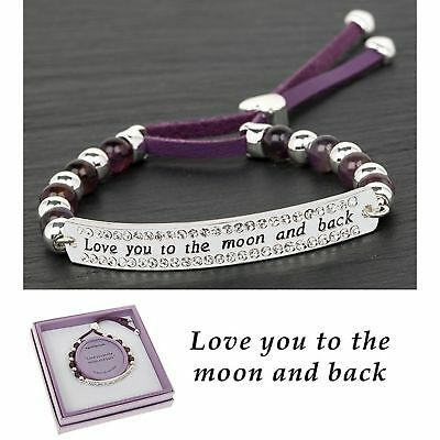 Equilibrium Silver Plated Amethyst Bracelet Love You To The Moon And Back Gift
