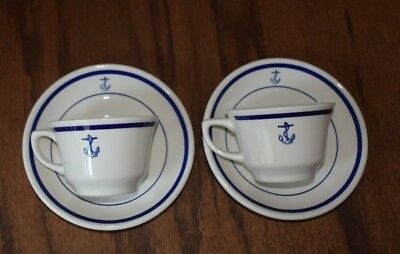 2 Homer Laughlin China US Navy Officers Mess Fouled Anchor Coffee Cup Sets