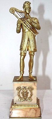 ANTIQUE FRENCH GILT BRASS STATUE / FIGURE ON MARBLE BASE. 18th C. HARP PLAYER