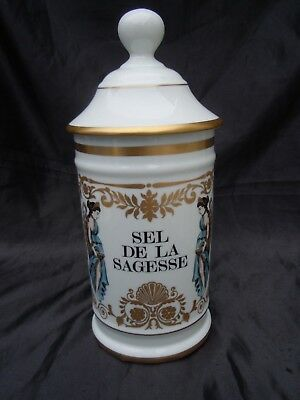 Pot pharmacie sel de la sagesse porcelaine Limoges France au pot de galien