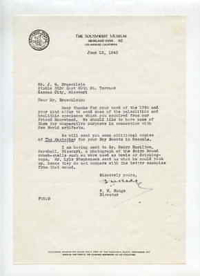 Southwest Museum Los Angeles CA 6/15/1943 Letter to J G Braecklein Kansas City