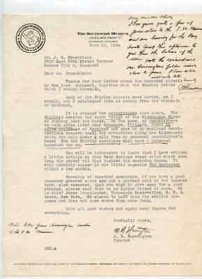 Southwest Museum Los Angeles CA 6/22/1944 Letter to J G Braecklein Kansas City