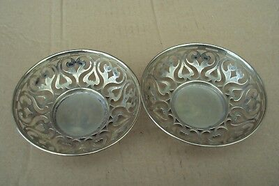 Pair Of Silver Plated Pierced Work Art Nouveau Period Dishes. Well Worn.