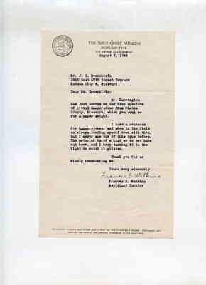 Southwest Museum Los Angeles CA 8/22/1944 Letter to J G Braecklein Kansas City