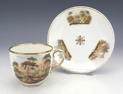 Antique English Pottery - Castle & Pastoral Scenes Decorated Cup & Saucer