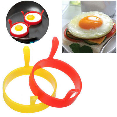 1PC Silicone Round Egg Rings Pancake Mold Ring Handles Nonstick Fried Frying Y