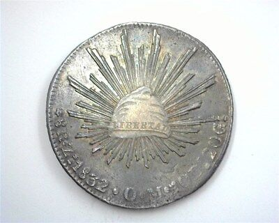 Mexico 1832-Zsom Silver 8 Reales Near Choice Uncirculated Km#377.13