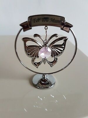 "Crystocraft Swarovski ""for you mum"" butterfly keepsake gift"
