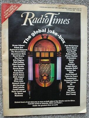 RADIO TIMES - 13th - 19th JULY 1985 . LIVE AID ISSUE