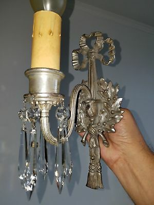 Rewired Antique 20s Vintage Bow and Tassel Wall Sconce Light Fixture Silver Tone