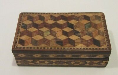 Small Tunbridge Ware Trinket Box Victorian Geometric