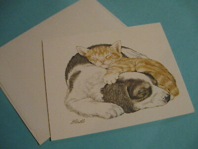 vintage Current LK Powell blank note card pup n kitten (free ship $20 min)