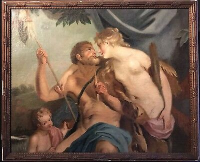 Fine 18Th Century French Old Master Oil - Allegorical Nude Lovers - Hunters