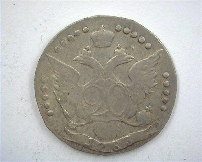 Russia 1783 Silver 20 Kopeks  Extremely Fine C#63C
