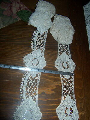 Antique Vtg Bobbin Lace Trim Edging Costume Clothing Sewing Flounce 2 types lot