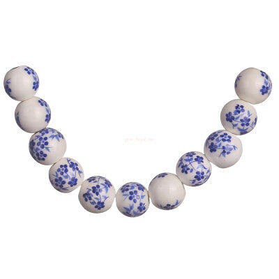 20Pcs Blue 10mm Round Ceramic Blue Flower Painted DIY Spacer Beads New Finding C