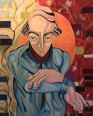 Beatrice Werlie (1974) Huge French Oil Modernist Portrait Of Smoking Character