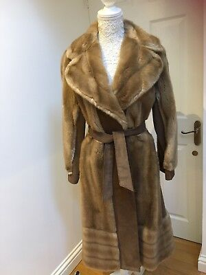 Leather and faux fur vintage 1960/70 coat, size 14, brown and mink in colour