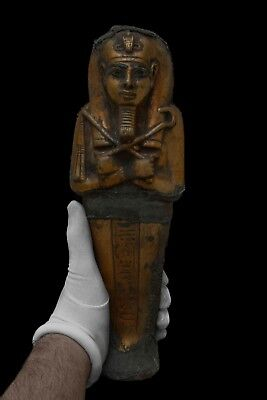 EGYPTIAN STATUE ANTIQUES EGYPT King Tut MUMMY USHABTI SHABTI Gold Paint Stone BC
