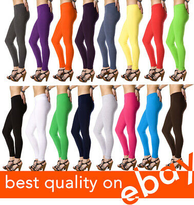 UK Cotton Plain Leggings Full Length All Sizes and Colors - High Quality