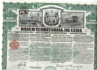 Banco Territorial  Habana 1911   uncancelled / Coupons