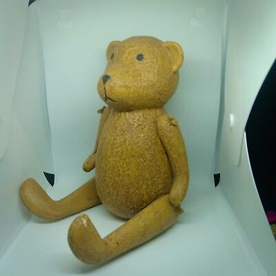 Vintage Old Antique Wooden Toy Teddy Bear Wood Hand Made Ornament 18 Cm Height