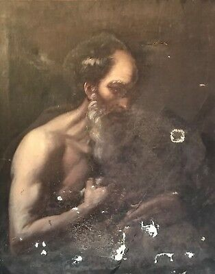 17th CENTURY ITALIAN OLD MASTER LARGE OIL ON CANVAS - PENITENT SAINT IN CAVE