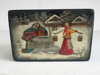 RUSSIAN Fedoskino Pegockuno Hand Painted Signed Numberd Lacquer Box WINTER SCENE