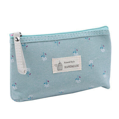 Portable Floral Printed Makeup Canvas Zipper Bag Travel Cosmetic Storage Bag LD