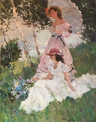 Very Fine Russian Impressionist Signed Oil Painting - Ladies Parasols & River