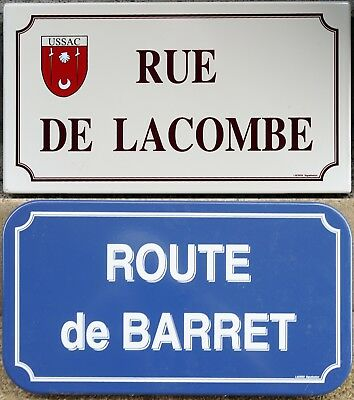 Inaccurate French enamel steel street sign road name Lacombe Barret Ussac Soyans