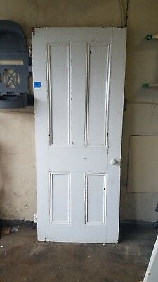 Antique Vintage Architectural Salvage Solid Wood 4 Panel Door