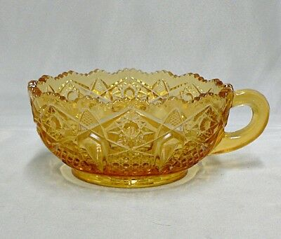 Vintage Cut Glass Gold Glass Bowl With Handle Nappy