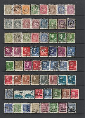 Norway early fine used collection, 97 stamps.