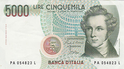 5 000 Lire Very Fine+  Banknote From Italy 1985!pick-111!!!