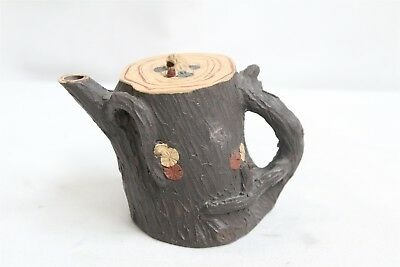 Chinese Yixing Branch Handled Stump Tree Crude Pottery Teapot Signed