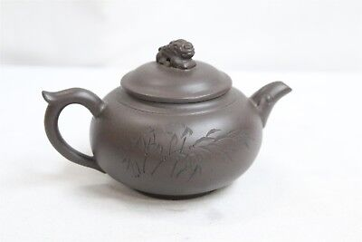 Chinese Yixing Dragon Head Lidded Branched Calligraphy Pottery Teapot Signed