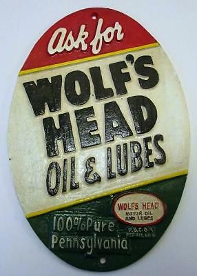 Vintage Wolf's Head Motor Oil Cast Iron Sign. Stamped 1955 On The Back