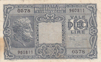 10 Lire Fine Banknote From Italy 1944!pick-32