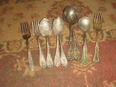 4 Pcs - 1847 Rogers OLD COLONY + 5 Other Antique Flatware Pieces
