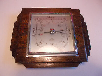 Vintage Deco Barometer Shortland Brothers Oak Square Case Wall Mount