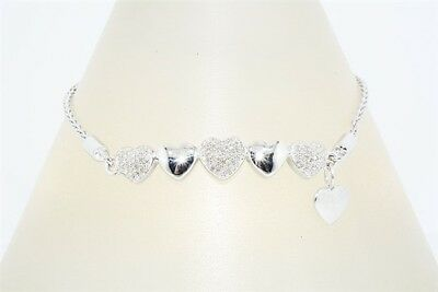 $650 .50Ct Natural Round Cut Diamond Cluster Hearts Bracelet .925 Silver