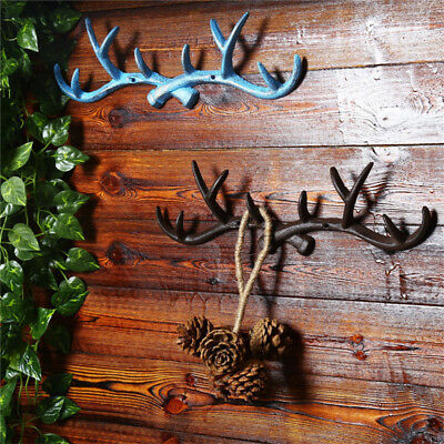 Vintage Cast Iron Deer Antlers Wall Hooks Strong Coat Towel Clothes Hat Key