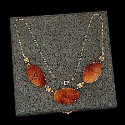 Antique Vintage Deco 14k Gold Chinese Carved Red Jadeite Jade Lavaliere Necklace